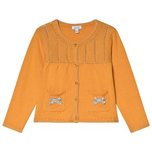 Absorba Mustard Lurex Knit Cardigan with Bow Detail 6 months