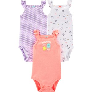Carter's 3-Pack Flutter Baby Bodies Peach/Purple 6 mdr