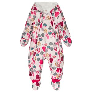 Catimini Pink Flower Print Fleece Lined Snowsuit with Detachable Mittens and Booties 6 months