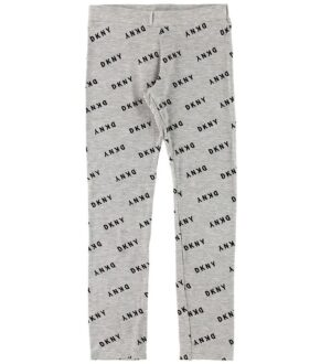 DKNY Leggings - Gråmeleret m. All Over Logo