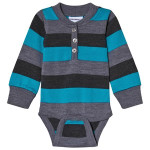Geggamoja Wool Baby Body Grey/Blue 50/56 cm