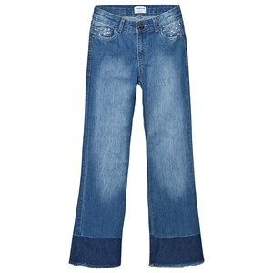 Mayoral Soft Denim Studded Bootcut Jeans with Frayed Hem 14 years