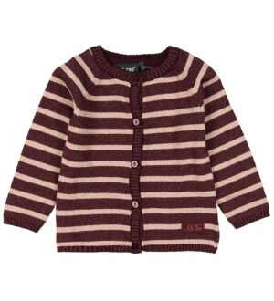 Me Too Cardigan - Strik - Bordeaux m. Striber/Glimmer