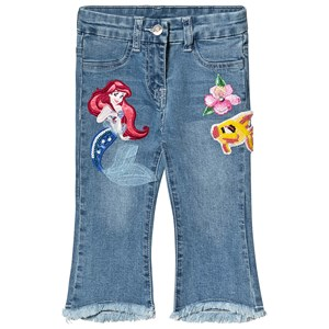 Monnalisa Blue Denim The Little Mermaid Applique Frayed Jeans 2 years
