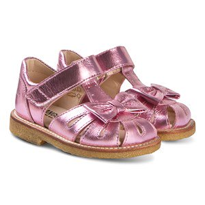 Angulus Metallic Pink Leather Bow Close Toe Sandals 20 (UK 4)