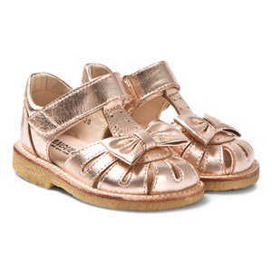 Angulus Rose Gold Leather Bow Closed Toe Sandals 20 (UK 4)