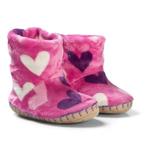 Hatley Pink Multi Hearts Fleece Slippers XL (UK 1-2)