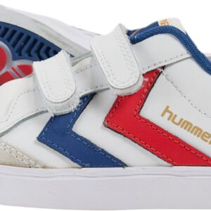 Hummel Stadil Jr Leather Low Sneakers, White/Blue/Red/Gum 26