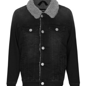 Mads Nørgaard Denimjakke m. For - Ziggilo Sherpa - Sort Denim