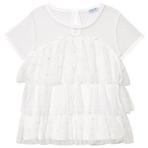 Mayoral Cream & Embroidered Polka Dot Tiered Fine Lace Top 10 years