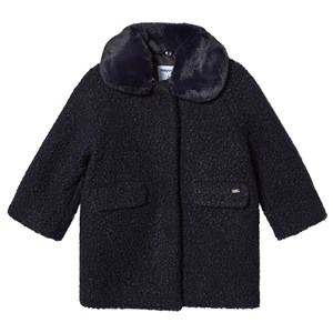 Mayoral Faux Fur Collar Coat Navy 2 years