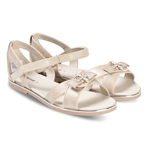 Mayoral Gold Bow Embellished Detail Velcro Strap Sandals 26 (UK 8.5)