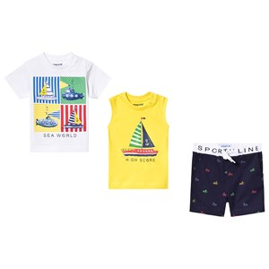 Mayoral White Sea World Tee, Boat Print Vest and Shorts Set 12 months
