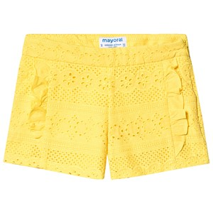 Mayoral Yellow Broderie Anglaise Ruffle Detail Shorts 4 years
