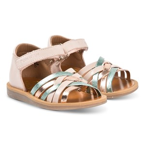 Pom Dapi Gold and Multi Colour Cross Over Poppy lux Leather Sandals 19 (UK 3.5)