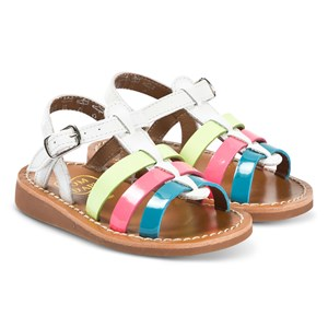 Pom Dapi White and Multi Colour Patent Yapo Strap Sandals 20 (UK 4)