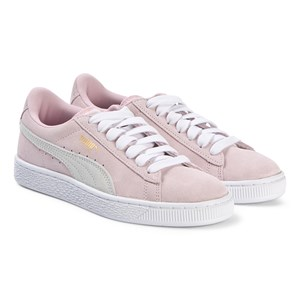 Puma Pink Suede Branded Lace Up Trainers 37 (UK 4)