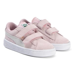 Puma Pink Suede Branded Velcro Trainers 22 (UK 5)
