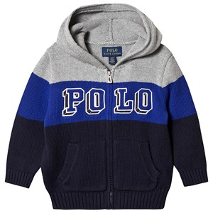 Ralph Lauren Navy, Blue and Grey Polo Logo Knit Hoodie 6 years