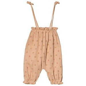 Rylee + Cru Cross Embroidered Bubble Jumpsuit Blush 3-6 mdr