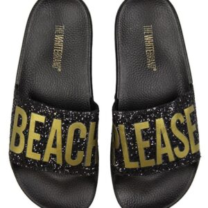 The White Brand Badesandaler - Glitter Beach Please - Sort/Guld