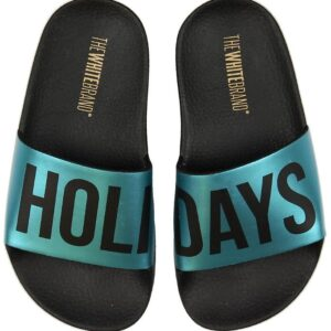 The White Brand Badesandaler - Holidays - Sort/Metallic Blå