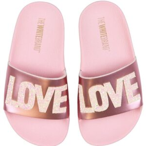 The White Brand Badesandaler - Love - Metallic Pink m. Glimmer