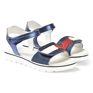 Tommy Hilfiger Navy, Red and White Stripe Sandals 34 (UK 2)