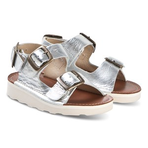Young Soles Silver Spike Buckle Sandals 32 (UK 13.5)
