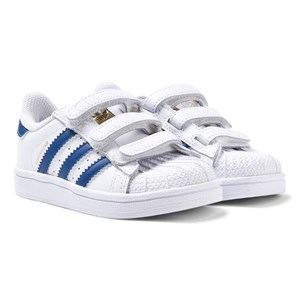 adidas Originals Superstar Foundation Velcro Trainers White and Blue 34 (UK 2)