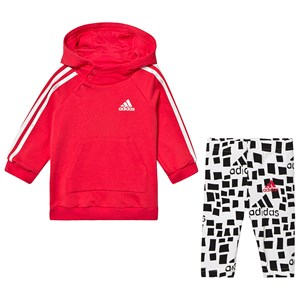 adidas Performance Logo Hoodie and Leggings Set Pink and White 0-3 months (62 cm)