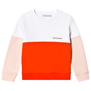 Calvin Klein Jeans White, Pink and Red Color Block Logo Sweatshirt 10 years