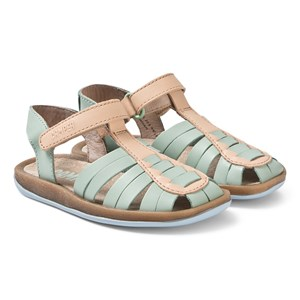 Camper Pale Green and Tan Leather Bicho Sandals 32 (UK 13)