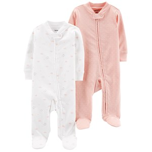 Carter's 2-Pack Zip-Up Cotton Footed Baby Bodies Ivory/Pink 3 mdr