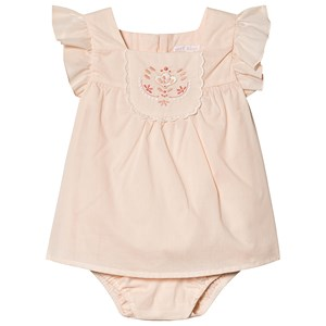 Chloé Pale Pink Embroidered Floral Baby Body Dress og Sun Hat 12 months