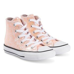 Converse Sparkly Chuck Taylor Hi Top Sneakers Barely Rose 27 (UK 10)