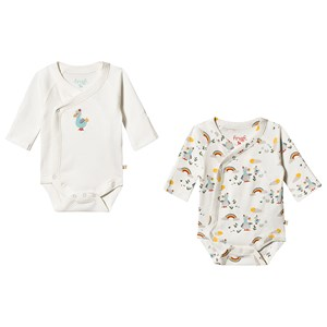 Frugi 2-Pack Dodo Wrap Baby Bodies White Newborn