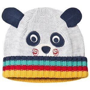 Frugi Organic Knitted Panda Hat with Ears Grey 0-12 months