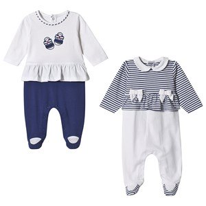 Mayoral Navy and White Stripe Ruffle 2 Pack Footed Baby Body 4-6 months