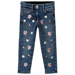 Monnalisa Blue Floral Embroidered Denim Jeans 2 years