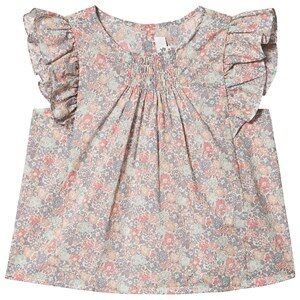 Bonpoint Floral Liberty Print Smocked Ruffle Sleeve Blouse Pink 4 years