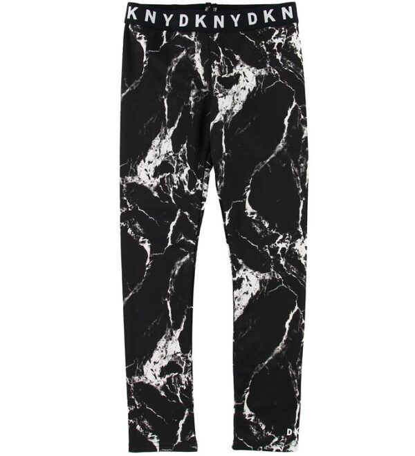 DKNY Leggings - Sort m. Marmorprint