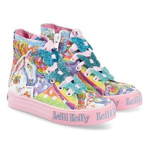 Lelli Kelly Blue Rainbow Unicorn og Butterfly Lace Mid Trainers 31 (UK 12)