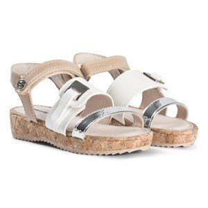 Mayoral Cork Platform Sandals In White and Silver 29 (UK 11)