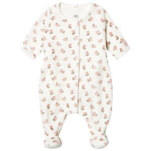 Petit Bateau Floral Footed Baby Body Marshmallow Hvid 9 mdr