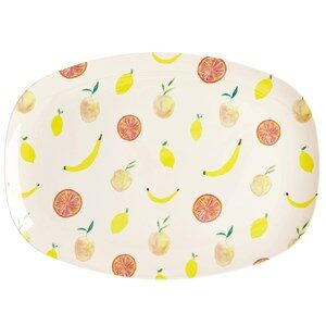 Rice Store Rektangulære Melamin Tallerken Happy Fruits Print One Size