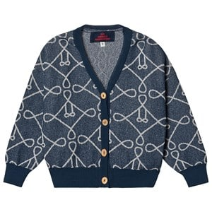 The Animals Observatory Logo Racoon Cardigan Deep Blue 2 Years