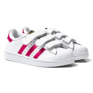 adidas Originals White and Pink Superstar Velcro Trainers 34 (UK 2)