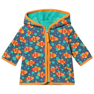 Frugi Fish Vendbar Fleece Jakke Blå 0-3 months