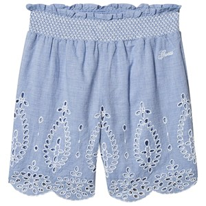 Guess Embroidered Hem Linen Shorts Blue/White 7 years